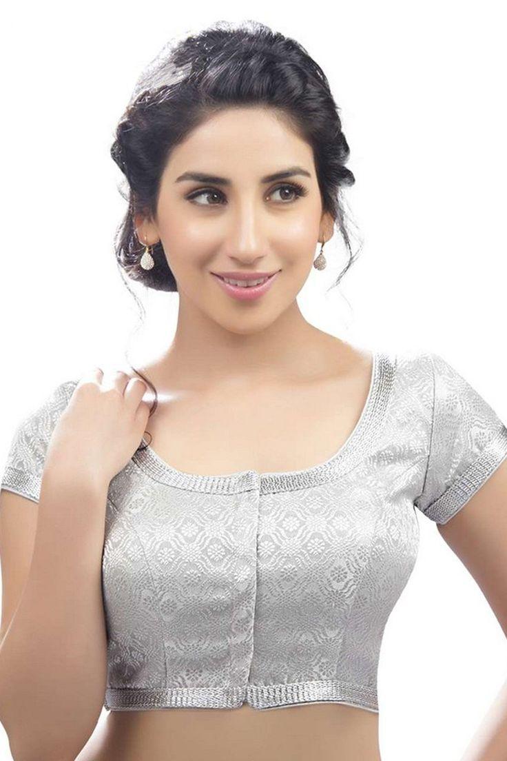 Silver banarasi self embossed festive wear suave blouse with cap sleeves -BL699 | designer sarees blouse styles | #silverblouse #banarasblouse