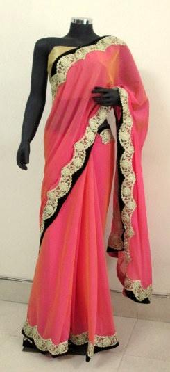 Pink two tone chiffon saree