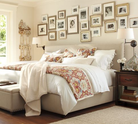 bedroom- love the picture frames