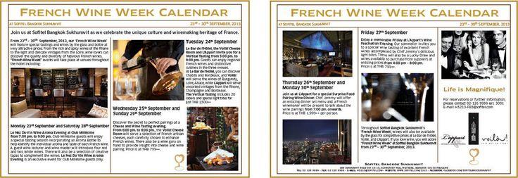 http://sofitelbangkoksukhumvit.wordpress.com/2013/08/27/sofitel-sukhumvit-french-wine-week-from-23-to-30-september-2013/  From 23rd – 30th September 2013, join us at Sofitel Bangkok Sukhumvit as we celebrate the unique culture and winemaking heritage of France #wine #frenchwine #Sofitel #winetasting #sofitelsukhumvit #Bangkok #Thailand