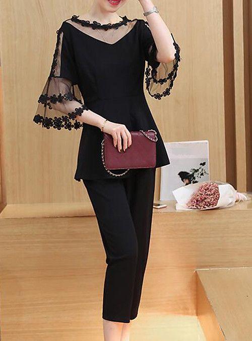 Damen Plus Size Street chic Slim Bluse mit Schlagärmeln – einfarbig, Netzhose / Frühjahr / Sommer