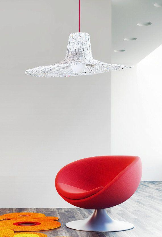 Oryginal white pendant light Hanging designer by BarborkaDesign
