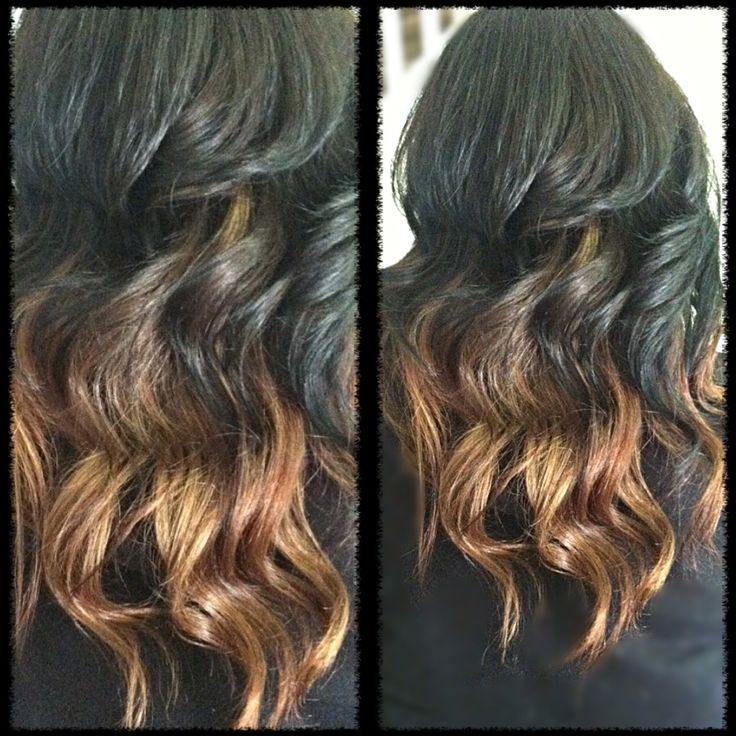 black to light caramel ombre hair by me