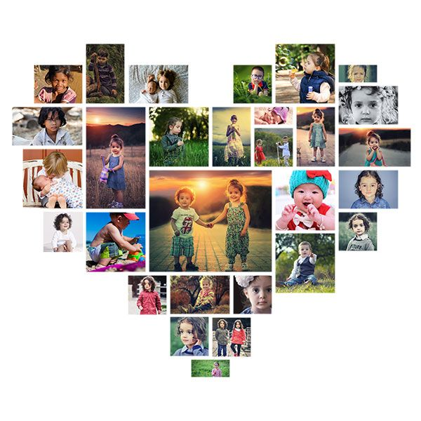 Tutorial on how to create heart shaped photo collage with Photoshop.