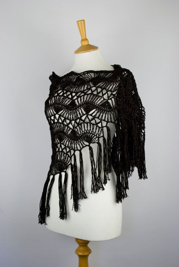 shawl black rust hairpin lace crochet wrap for her by annerstreet, $63.00