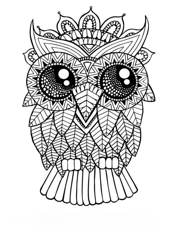 stress relieving coloring pages owls - photo#28