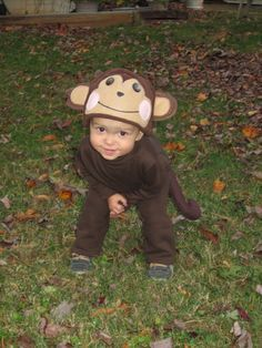 DIY monkey costume with sweatpants, turtleneck, and homemade hat and tail!