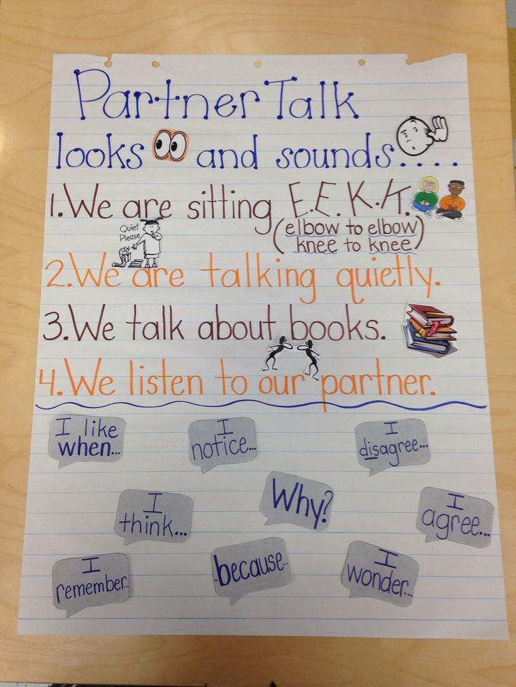 Partner talk readers workshop kindergarten