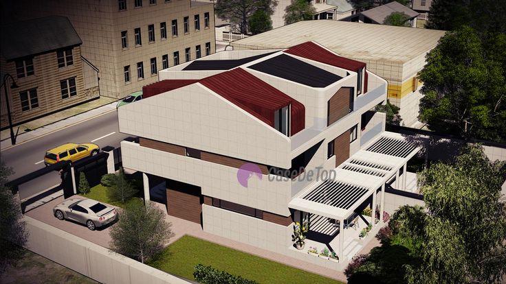 Case cuplate ''in oglinda''- Vedere aeriana| Duplex single-family homes- Aerial view| Etichete: proiecte case, proiecte vile, proiecte case complexe, proiecte case cu etaj, proiecte case cu mansarda, case moderne