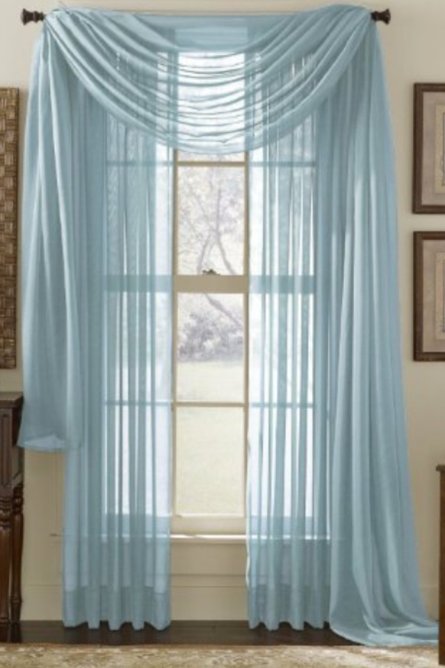 Sheer blue voile curtains
