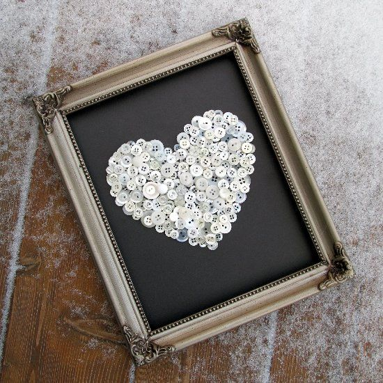 Craft a beautiful heart out of an old frame and the contents of your button jar!