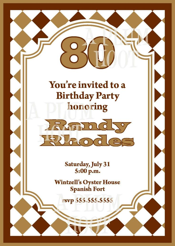 17 Best images about Birthday Invites – 80th Birthday Invitations Templates Free