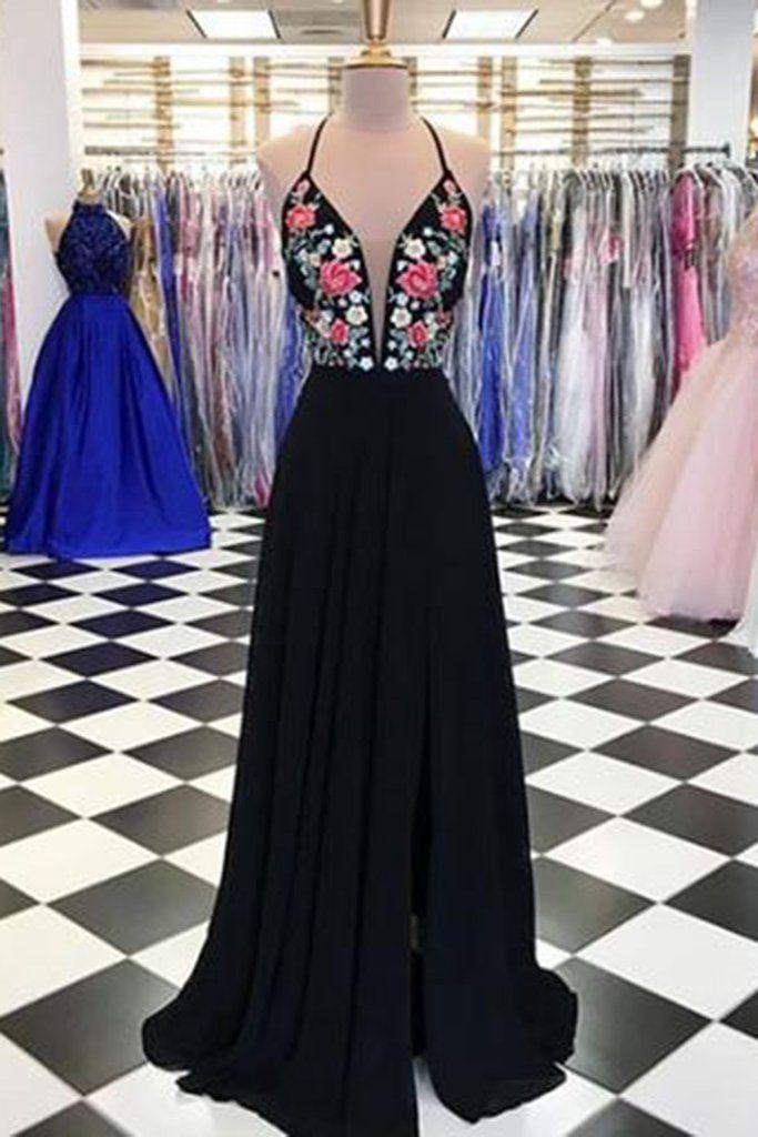 Black chiffon open back V neck long embroidery slit evening dress, long black party dress 9