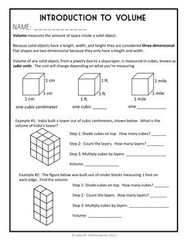 Introduction To 5th Grade Volume Layering And Unit Cubes 8 Page Lesson Packet With Images Volume Math Volume Lessons Teaching Volume
