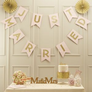 Just Married Bunting Pastel Pink Gold Glitter