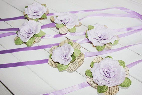 Purple Bride CORSAGES Wedding corsage rose