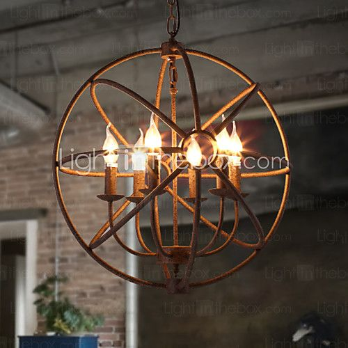 Sitting Room Lights Nordic Country, Wrought Iron American Retro Candle Chandelier The Black Chandelier Villa 2016 - $315.79