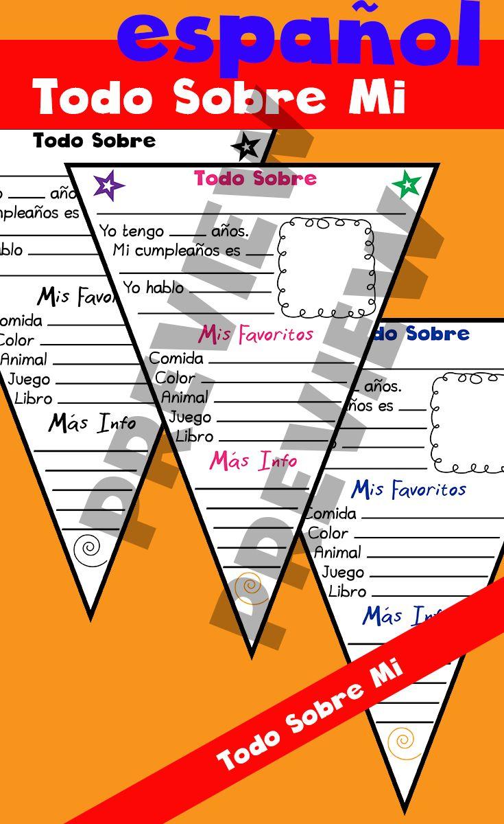 todo sobre mi All About Me pennant banner First day of school #kindergarten #tpt #teacherspayteachers #homeschool