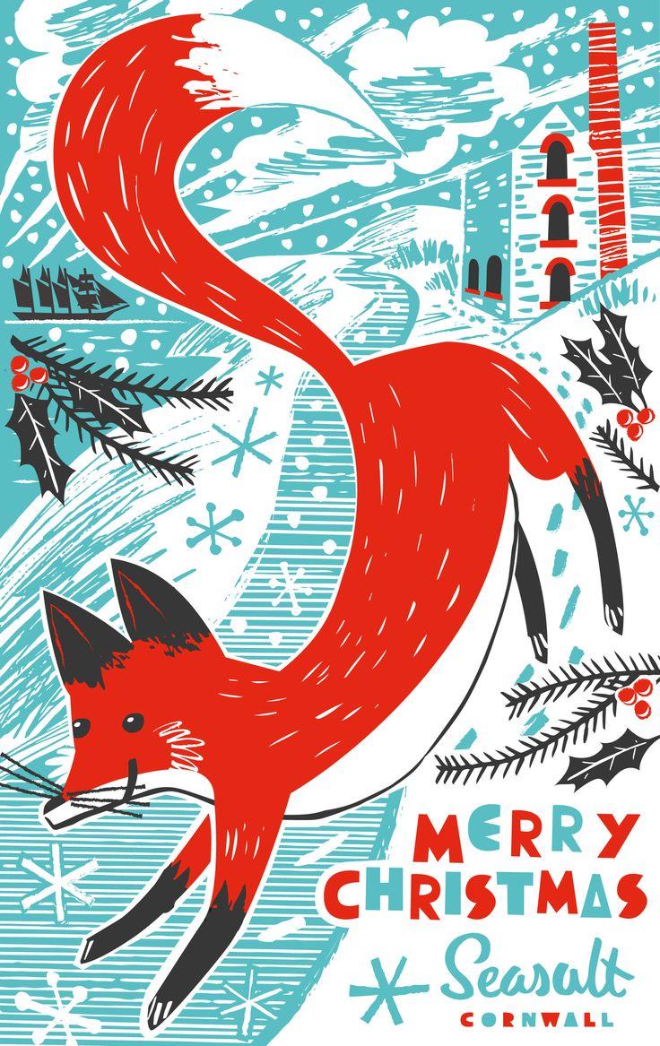 Christmas card illustration of fox on snowy Cornish coastline with tin mine. By Matt johnson for Seasalt Cornwall.
