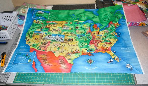 Us Map Fabric Panel United States Map Fabric Panel for Quilting Cotton Fabric by
