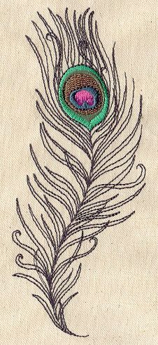 Could easily adapt this idea for thread painting on quilts. Peacock Plume Embroidered Flour Sack Hand/Dish Towel. $13.99, via Etsy.