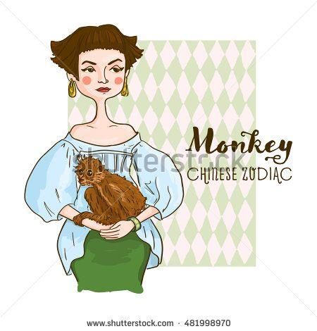 Cute girl holding monkey - symbols of chinese horoscope.