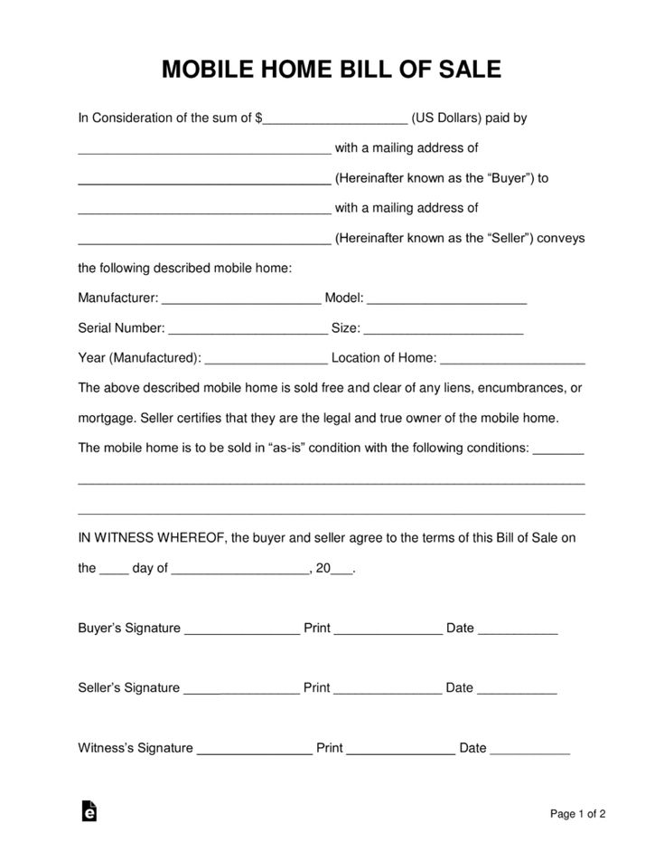 free mobile  manufactured  home bill of sale form