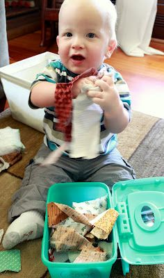 Baby Activity with Fabric Scraps – I love this as a gift idea! My 4yo still loves to pull all the tissues out of the box!