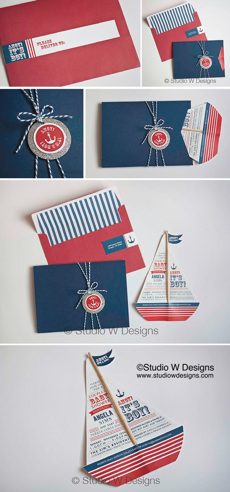 Nautical Themed Baby Shower Invitation