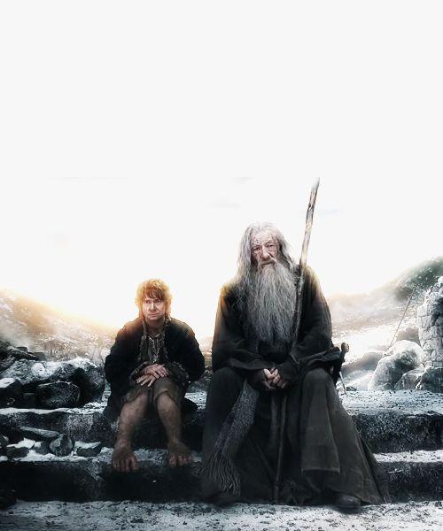 Martin Freeman as Bilbo Baggins and Ian McKellen as Gandolf in The Hobbit: The Battle of Five Armies