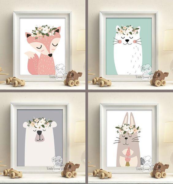 Cool Wald Tiere Kindergarten Kunstdrucke Set von LittleEmmasFlowers Babyzimmer