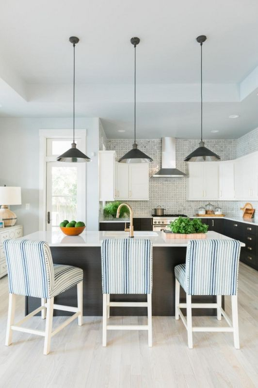 Lovely Kitchen Design With Striped High Top Chairs