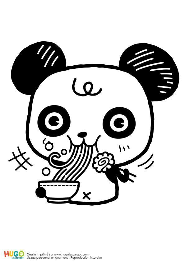 Coloriage Panda Kawaii