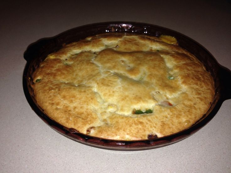 Chicken pot pie baked.. all golden brown and ready to eat!