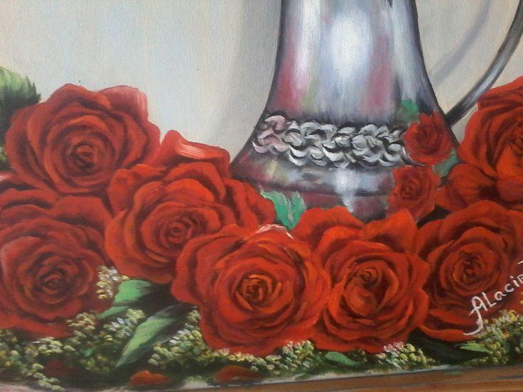 Pintura Oleo sobre tela Jarra de prata com rosas