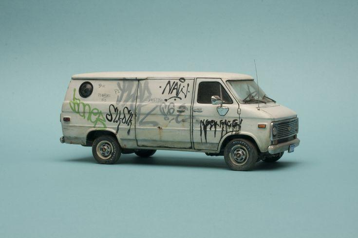 die cast miniature - a teeny fan with graffiti!    kool