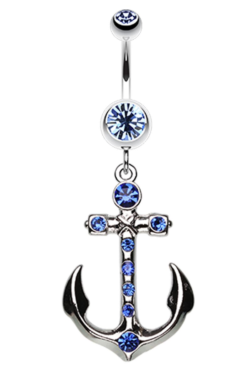 Jeweled Anchor Belly Button Ring - 14 GA (1.6mm) - Blue - Sold Individually