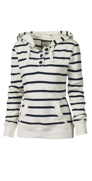 classic stripes on a long, fitted hoodie pullover