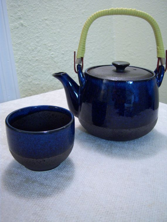 Asian small stoneware teapot and cup/Blue glazed & charcoal color/Bamboo wrapped handle/Dining and Serving/Kitchen