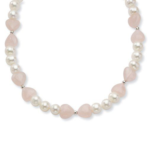 Sterling Silver Freshwater Cultured Pearl/Rose Quartz Heart Necklace Jewelry Adviser Necklaces. $37.92. Save 60% Off!