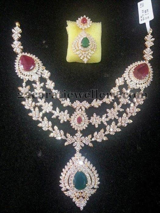 Jewellery Designs Triple Step Diamond Necklace