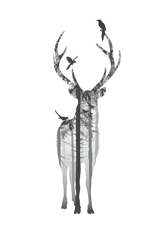 Stylish print with a deer for Nordic interior design.