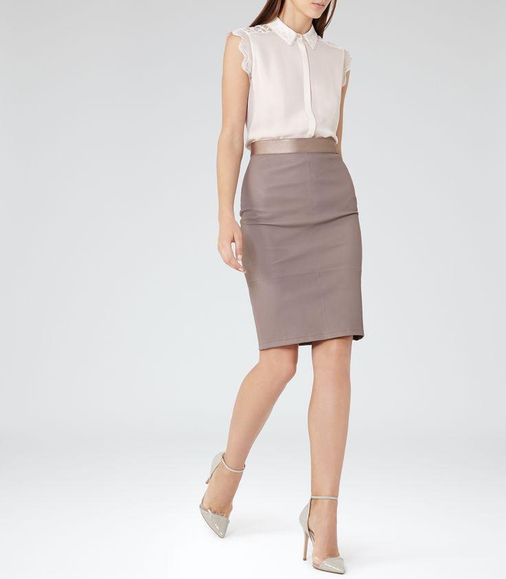 Womens Alabaster Lace-trim Short-sleeved Shirt - Reiss Tobias