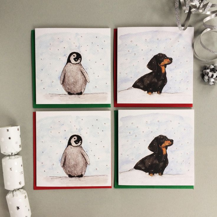 Excited to share the latest addition to my #etsy shop: Cute Christmas Cards Pack. 4 pack. Penguin Christmas Card. Sausage Dog Christmas Card. Animal Christmas Cards. Dachshund Christmas Card. #papergoods #christmas #cutechristmascard #cutepenguincard #penguincard #cardforboyfriend #cardforgirlfriend