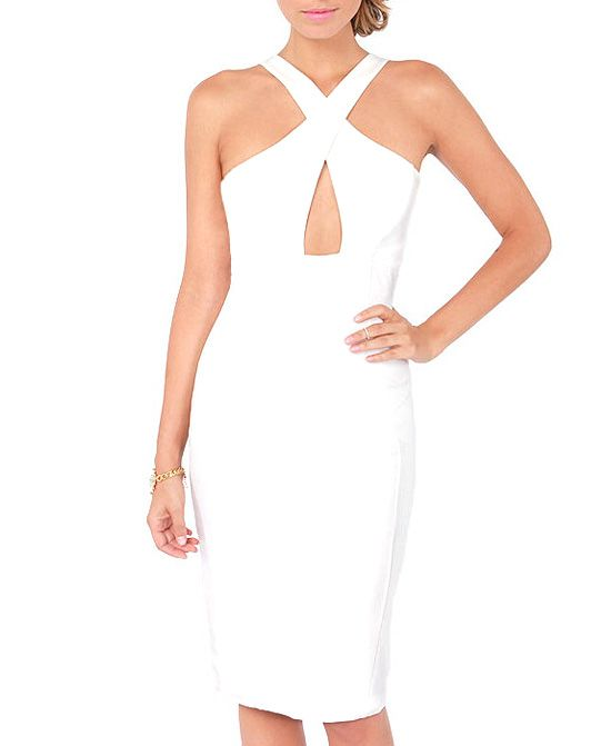 White Wrapped Chest Dress