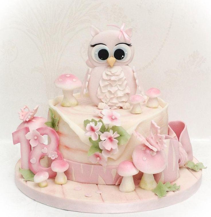 Niedliche Eulen-Kuchen - Kuchen von Samanthas Kuchen-Entwurf - CakesDecor