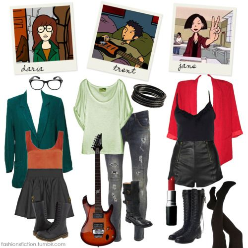 fashionxfiction:    Fashion inspired by Daria Morgendorffer, Trent Lane, and Jane Lane from Daria.  A smart & cynical girl goes through teenage life as a proud outsider in a world of mainly idiotic teens and condescending adults.