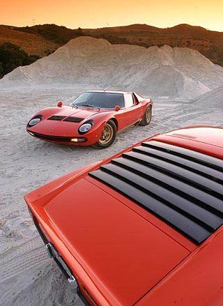 1966 Lamborghini Miura - My brother Knol's teen-age dream-car of choice.  We used to shop Hemmings Motor News for Lamborginis and Maseratis on a regular basis...  (Back when they cost less than a new Toyota does today.)
