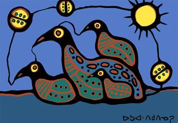 Canadian Ojibwe artist Norval Morrisseau (Copper Thunderbird).