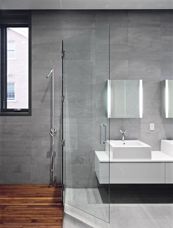 Bathroom With Grey Wall And Wooden Flooring